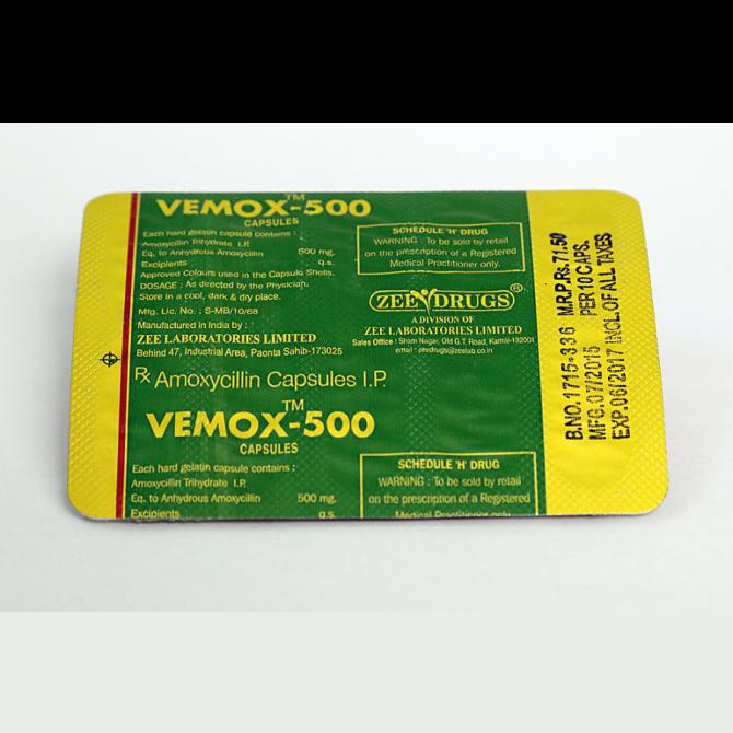 Vemox 500 ( 500mg (30 capsules) - Amoxicillin )